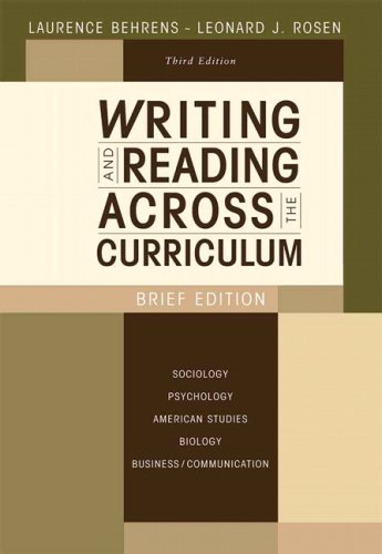 Writing and Reading Across the Curriculum, Brief Edition  3rd 2009 edition cover