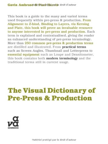 Visual Dictionary of Pre-Press and Production   2010 edition cover