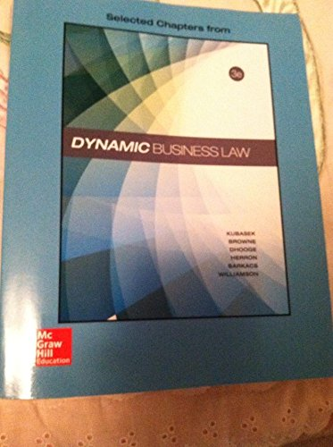 DYNAMIC BUSINESS LAW-TEXT >CUSTOM<      N/A 9781259707292 Front Cover