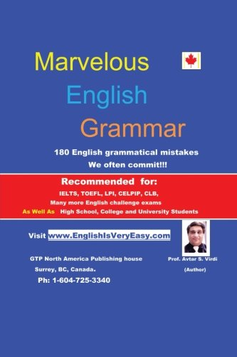 Marvelous English Grammar 180 English Grammatical Mistakes  2013 9781483657295 Front Cover