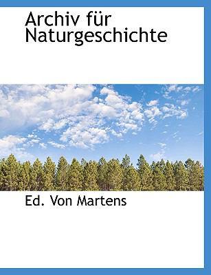 Archiv F�r Naturgeschichte  N/A 9781113622297 Front Cover