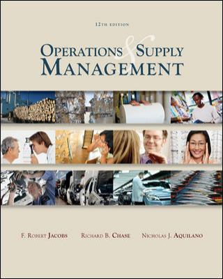Operations and Supply Management  12th 2009 edition cover