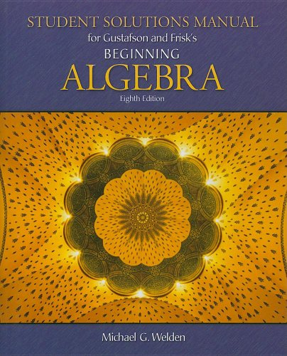 Beginning Algebra Student Solutions Manual 8th 2008 9780495118299 Front Cover