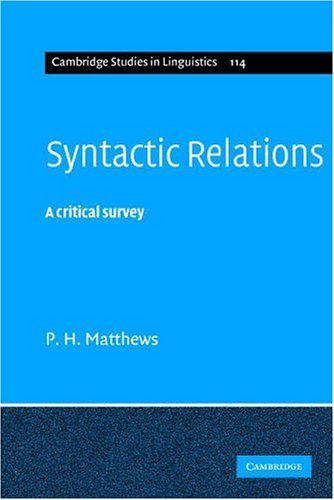 Syntactic Relations A Critical Survey  2006 edition cover