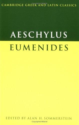 Aeschylus Eumenides  1989 9780521284301 Front Cover