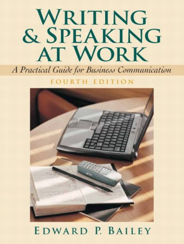 Writing and Speaking at Work A Practical Guide for Business Communication 4th 2008 edition cover