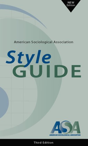 AMERICAN SOCIOLOGICAL ASSN.STY 3rd 2007 9780912764306 Front Cover