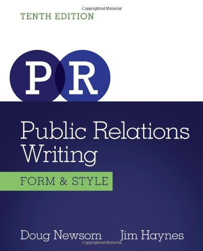 Public Relations Writing Form and Style 10th 2014 edition cover