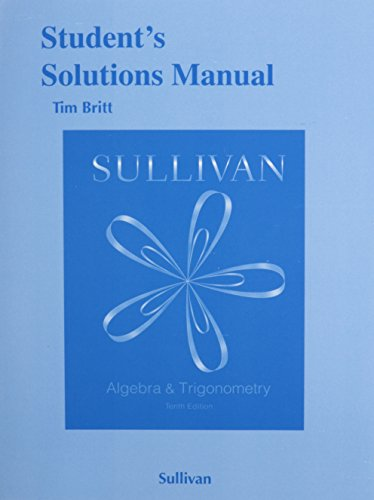 Student's Solutions Manual for Algebra and Trigonometry  10th 2016 edition cover