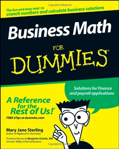 Business Math for Dummies   2008 9780470233313 Front Cover