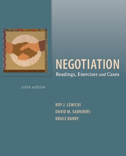 Negotiation Readings, Exercises and Cases 6th 2010 9780073530314 Front Cover