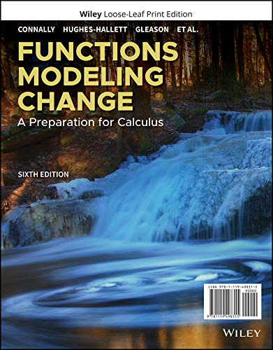 Cover art for Functions Modeling Change: A Preparation for Calculus, 6th Edition
