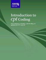 Introduction to CPT Coding Basic Principles to Learning, Understanding, and Applying the CPT Code Set  2011 edition cover