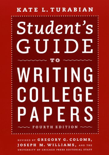 Guide to Writing College Papers  4th 2010 (Student Manual, Study Guide, etc.) 9780226816319 Front Cover