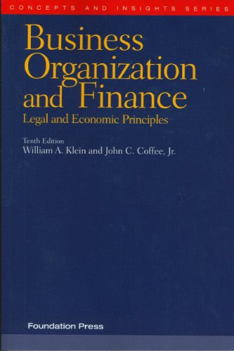 Business Organization and Finance Legal and Economic Principles 10th 2007 (Revised) edition cover