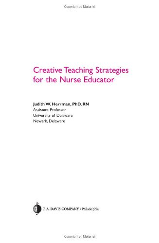 Creative Teaching Strategies for the Nurse Educator   2008 edition cover