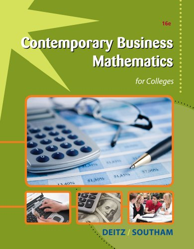 Contemporary Business Mathematics for Colleges  16th 2013 edition cover