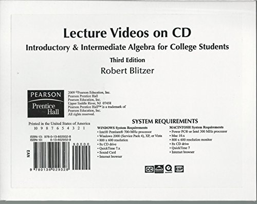 Introductory and Intermediate Algebra for College Students  3rd 2009 edition cover