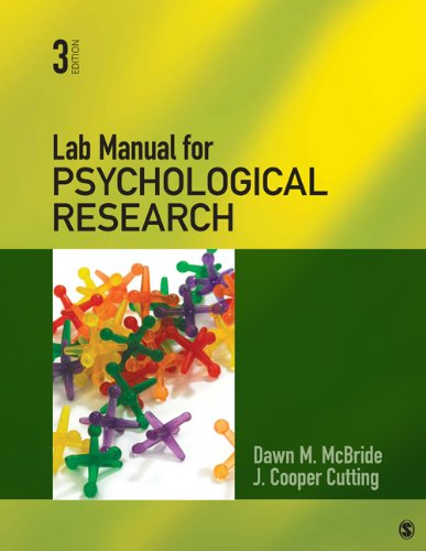 Lab Manual for Psychological Research  3rd 2013 edition cover