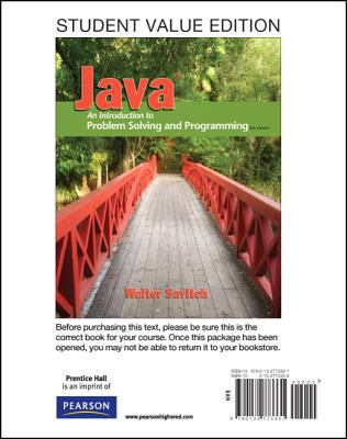 Student Value Edition for Java An Introduction to Problem Solving and Programming 6th 2012 edition cover