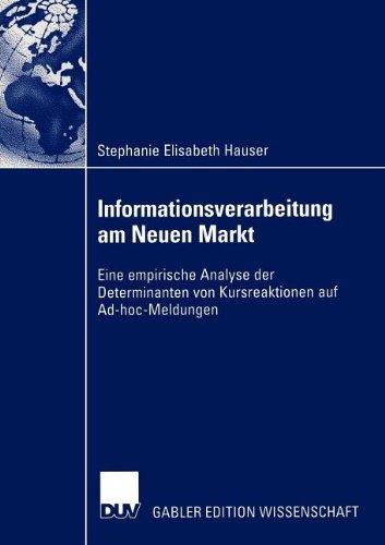 Informationsverarbeitung und -Effizienz Am Neuen Markt   2003 9783824479337 Front Cover