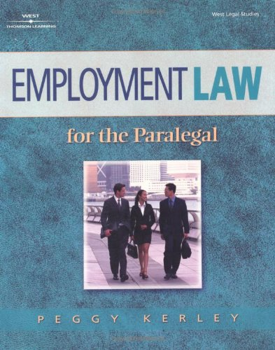 Employment Law for the Paralegal   2002 edition cover