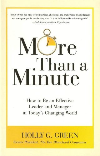 More Than a Minute How to Be an Effective Leader and Manager in Today's Changing World  2009 edition cover