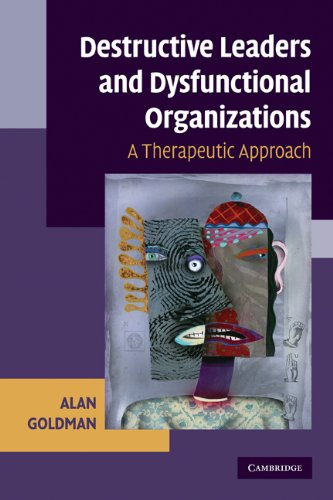 Destructive Leaders and Dysfunctional Organizations A Therapeutic Approach  2009 edition cover