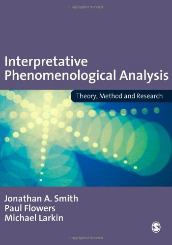 Interpretative Phenomenological Analysis Theory, Method and Research  2009 edition cover