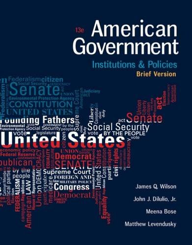 American Government: Institutions and Policies, Brief Version  2017 9781305956346 Front Cover