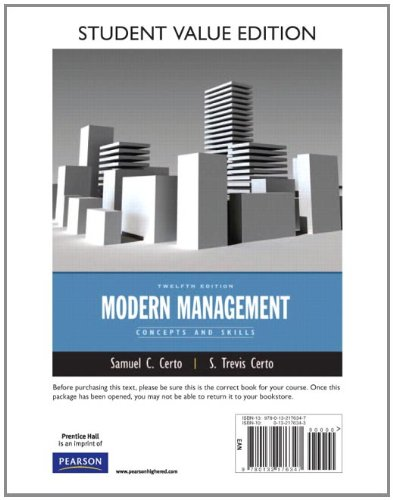 Modern Management Concepts and Skills, Student Value Edition 12th 2012 9780132176347 Front Cover