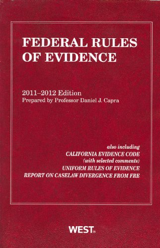 Federal Rules of Evidence, with Evidence Map 2011-12   2011 9780314275349 Front Cover