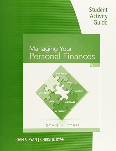 Student Activity Guide for Ryan/Ryan's Managing Your Personal Finances, 7th  2016 edition cover
