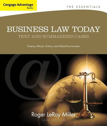 Business Law Today Text and Summarized Cases 10th 2014 9781133191353 Front Cover