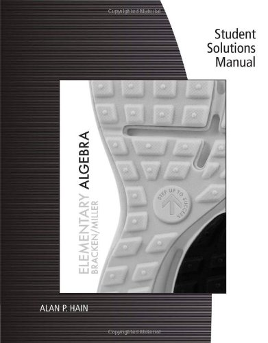 Student Solutions Manual for Bracken/Miller's Elementary Algebra  N/A edition cover