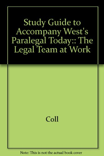 West Paralegal Today Study Guide  Student Manual, Study Guide, etc. 9780314054357 Front Cover