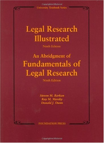 Legal Research  9th 2009 (Revised) edition cover