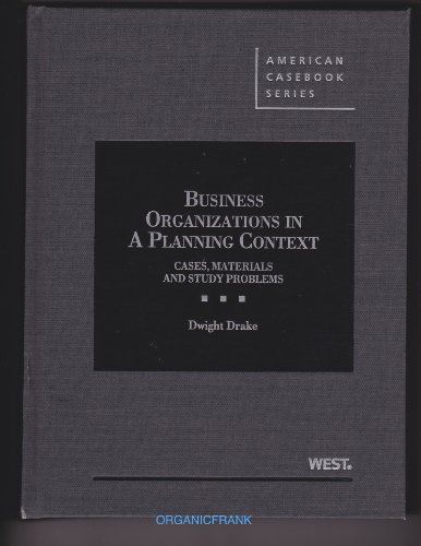 Business Organizations in a Planning Context: Cases, Materials and Study Problems  2013 edition cover