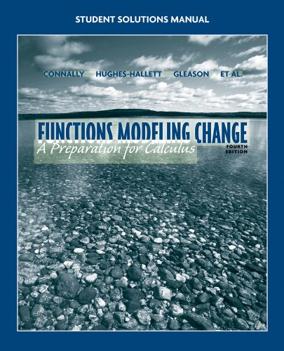 Student Solutions Manual to Accompany Functions Modeling Change  4th 2011 edition cover
