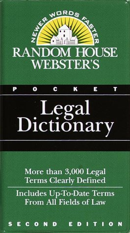 Random House Webster's Pocket Legal Dictionary 1st edition cover