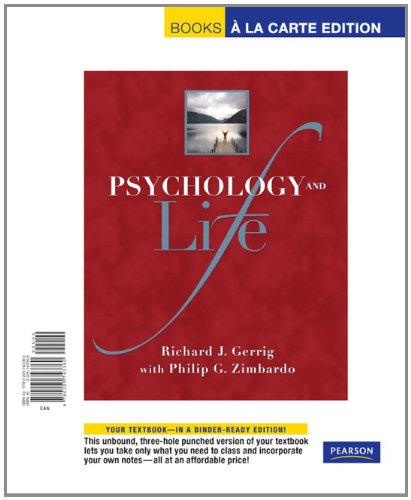 Psychology and Life, Books a la Carte Edition  19th 2010 9780205743360 Front Cover