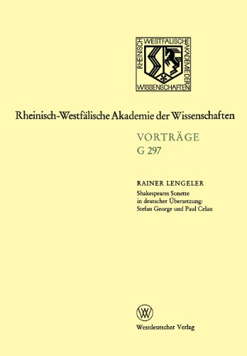 Shakespeares Sonette in Deutscher �bersetzung Stefan George und Paul Celan  1989 edition cover