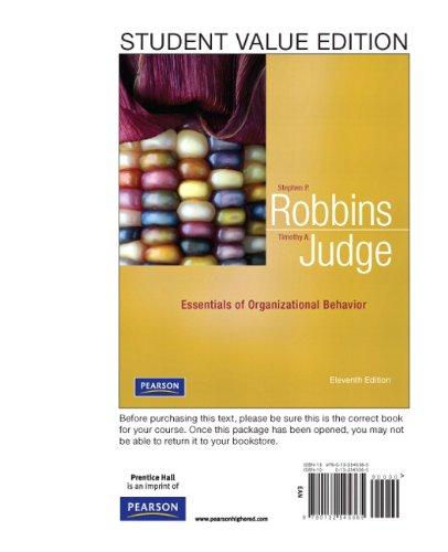 Essentials of Organizational Behavior, Student Value Edition  11th 2012 edition cover
