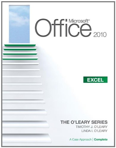 Microsoft� Office Excel 2010 A Case Approach  2011 edition cover