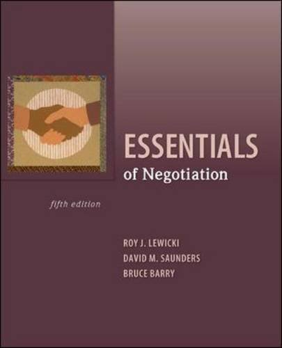 Essentials of Negotiation  5th 2011 9780073530369 Front Cover