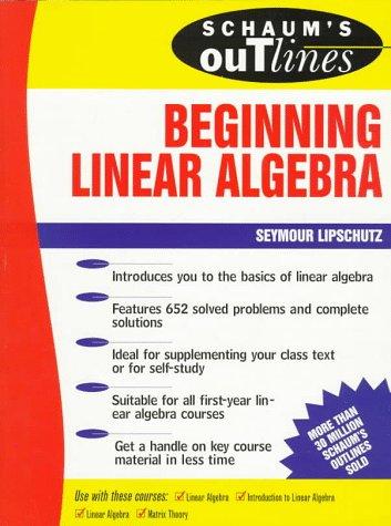 Beginning Linear Algebra   1996 edition cover