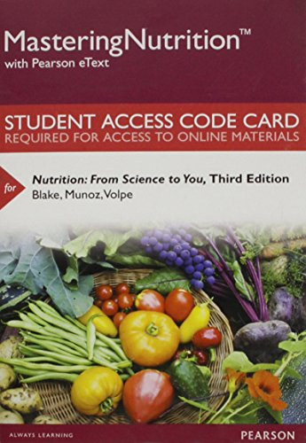 Nutrition Masteringnutrition With Mydietanalysis With Pearson Etext Standalone Access Card: From Science to You  2015 edition cover