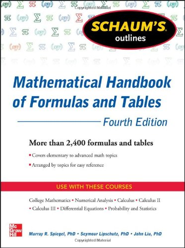 Mathematical Handbook of Formulas and Tables  4th 2013 edition cover