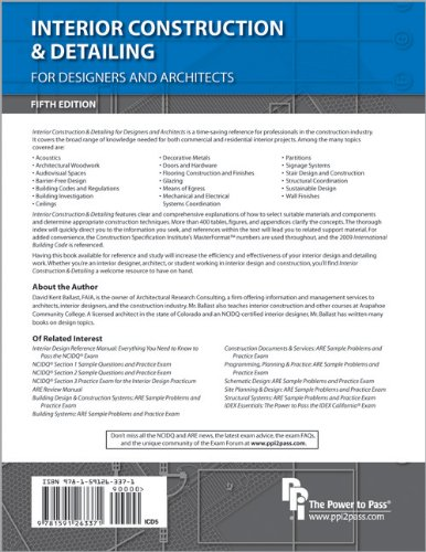 Interior Construction and Detailing for Designers and Architects  5th 2011 edition cover