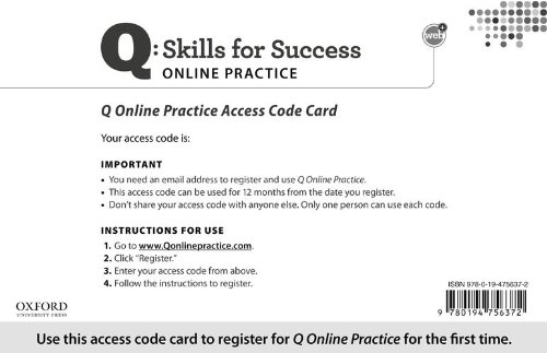 Q - Skills for Success Online Practice N/A 9780194756372 Front Cover